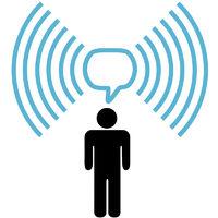 Wifi symbol man talks on wireless network