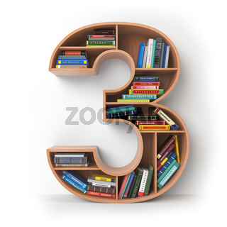 Number 3 three. Alphabet in the form of shelves with books isolated on white.