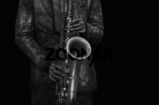 Musiker spielt Saxophon