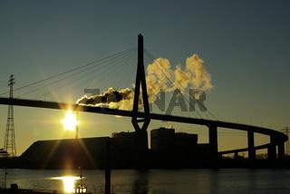 Köhlbrandbrücke / untergehende Sonne