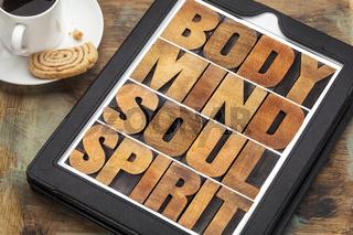 body, mind, soul and spirit on tablet