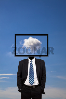 business dreamer with computer monitor head