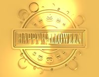 Engraved stamp with Happy Halloween text
