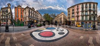 Panorama of La Rambla Street with Joan Miro Mosaic on the Floor, Barcelona, Catalonia, Spain