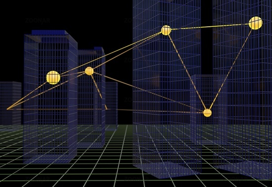 Corporate business connection links building concept 3d illustration
