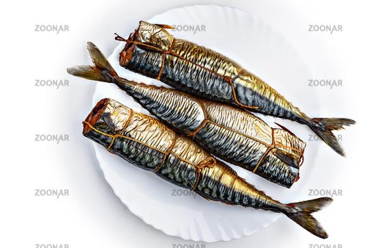 Three pieces of smoked scomber fish.