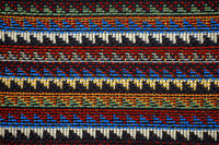 Texture of fabric with traditional Mexican pattern macro