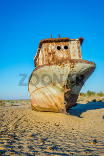 Rusted vessel in the ship cemetery, Uzbekistan