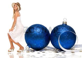 beautiful girl with Christmas balls