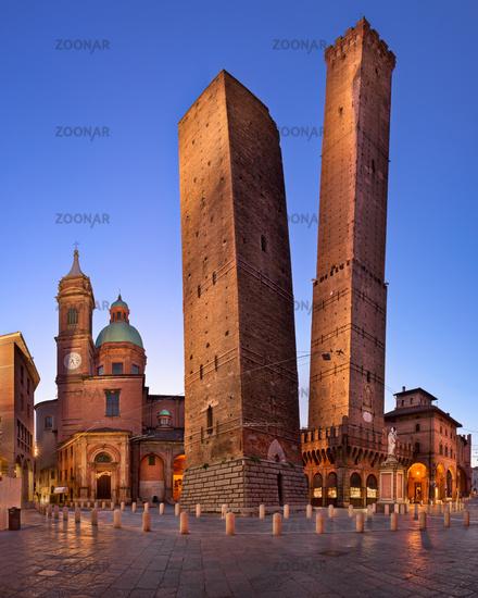 Two Towers and Chiesa di San Bartolomeo in the Morning, Bologna, Emilia-Romagna, Italy