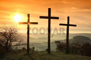 Kreuze auf dem Kornbuehl, Schwaebische Alb