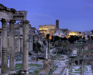 Blue hour at the Forum Romanum