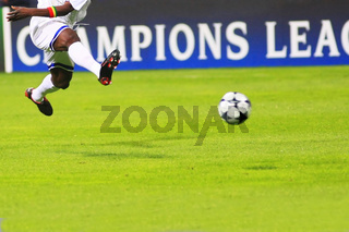 Flying soccer player