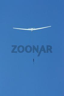 Segelflugzeug Start mit Windenseil