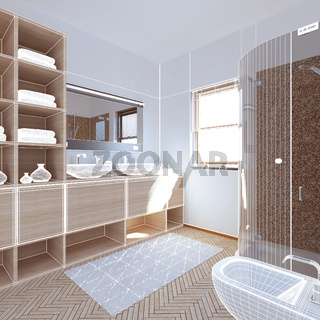 3D interior rendering a modern bathroom