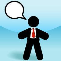 Business sales man stick figure talks in speech bubble