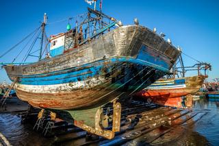 Boats in Essouira harbour