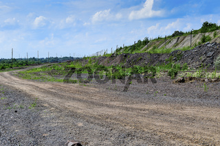 Production area with road and rocks