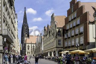 Prinzipalmarkt mit Lambertikirche,, Münster, NRW
