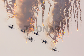 Aircraft Sukhoi Su-27 of the Military Air forces Russia perform aerobatics at an Airshow Russian Knights