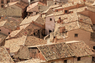 Old roofs of Albarracin, Aragon, Spain.