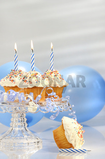 Birthday cupcakes with blue candles