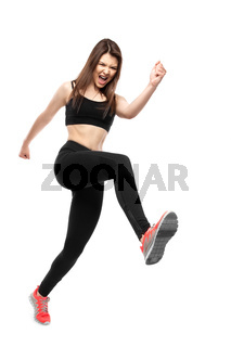 Sports woman in rage runs on white background