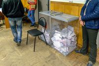 Urns with ballot papers in a polling station on election day in the State Duma