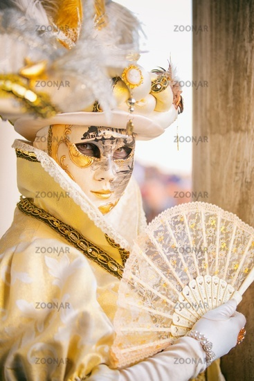 Venice, Italy - February 18, 2017:  Venetian Masks on Venice Carnival.