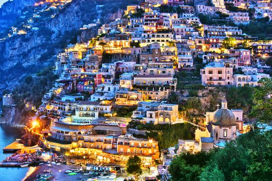City of Positano on Amalfi coast in the province of Salerno