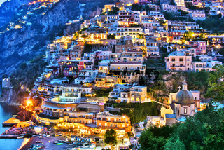 City of Positano on Amalfi coast in the province of Salerno