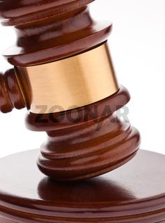 Gavel. Auction hammer in court.