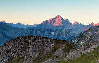 sunrise light on mountain tops