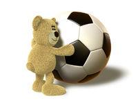 Nhi Bear hugs a big Soccer Ball