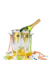 2018 Happy New Year Celebration with Champagne isolated on white background