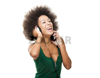 Happy woman listen music