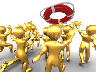 Group of people and lifebouy. 3d
