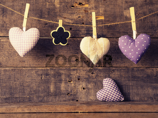 Heart shapes with a small chalkboard