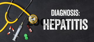 Stethoscope and pharmaceuticals on a blackboard - Hepatitis
