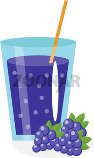 Blackberry juice in a glass. Fresh mulberry  isolated on white background.  fruit and  icon.  drink,  compote.  cocktail. Vector illustration