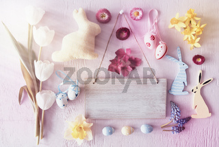 Sunny Retro Easter Flat Lay With Flowers, Copy Space
