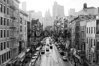 High contrast black and white image of East Broadway