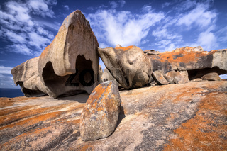 Remarkable rocks with blue and white sky, impressive landmark on Kangaroo Island, South Australia