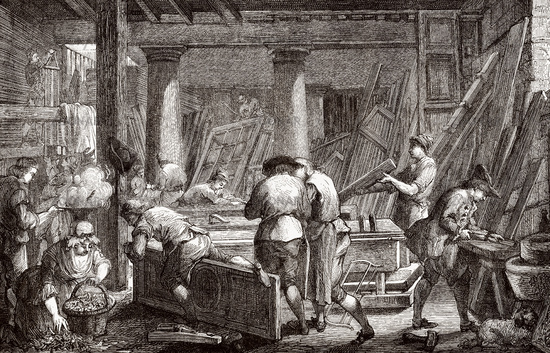 A workshop of a  joiner, 18th century