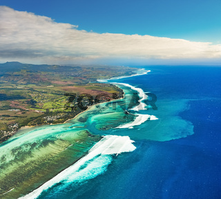 Aerial view of the underwater channel. Mauritius