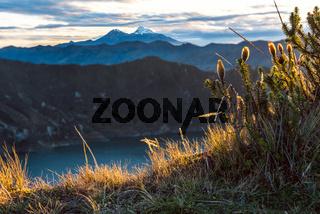 Ilinizas Volcanoes under the Quilotoa lagoon, Andes. Ecuador. Ilinizas Nature Reserve. Los Ilinizas - these 2 volcanos: Iliniza Sur at 5263m and Iliniza Norte at 5126m