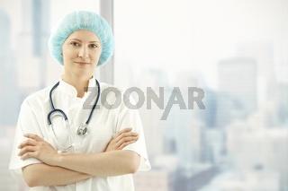 Medical doctor in skyscraper office