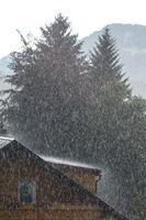 Regen im Sommer mit Haus, Dach und Bäume