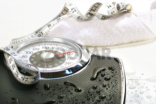 Weight scale and towel