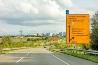 federal highway sign on Bundesstrasse B27, Tubingen / Reutlingen Filderstadt Leinfelden-Echterdingen